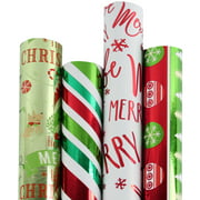 "LaRibbons Christmas Gift Wrapping Paper - Red & Green Collection 4 Rolls - 30"" x 10'/Roll"