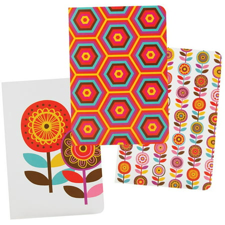 The Gift Wrap Company Scandi Floral Deluxe Soft Bound Mini Pocket Journals, Set of 3