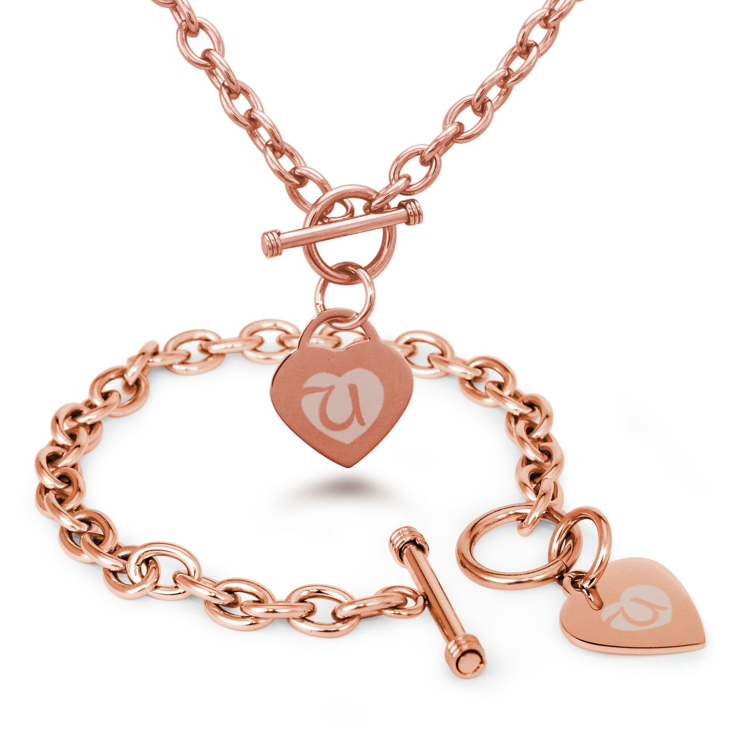 Tioneer Stainless Steel Alphabet Letter U Initial Heart Charm