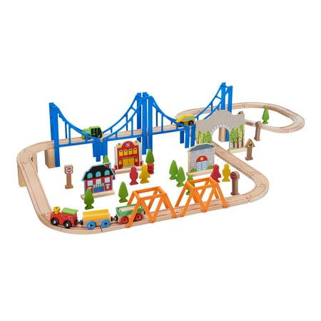 Spark. Create. Imagine. Wooden Train Play Set, 75 Pieces [Walmart Exclusive]
