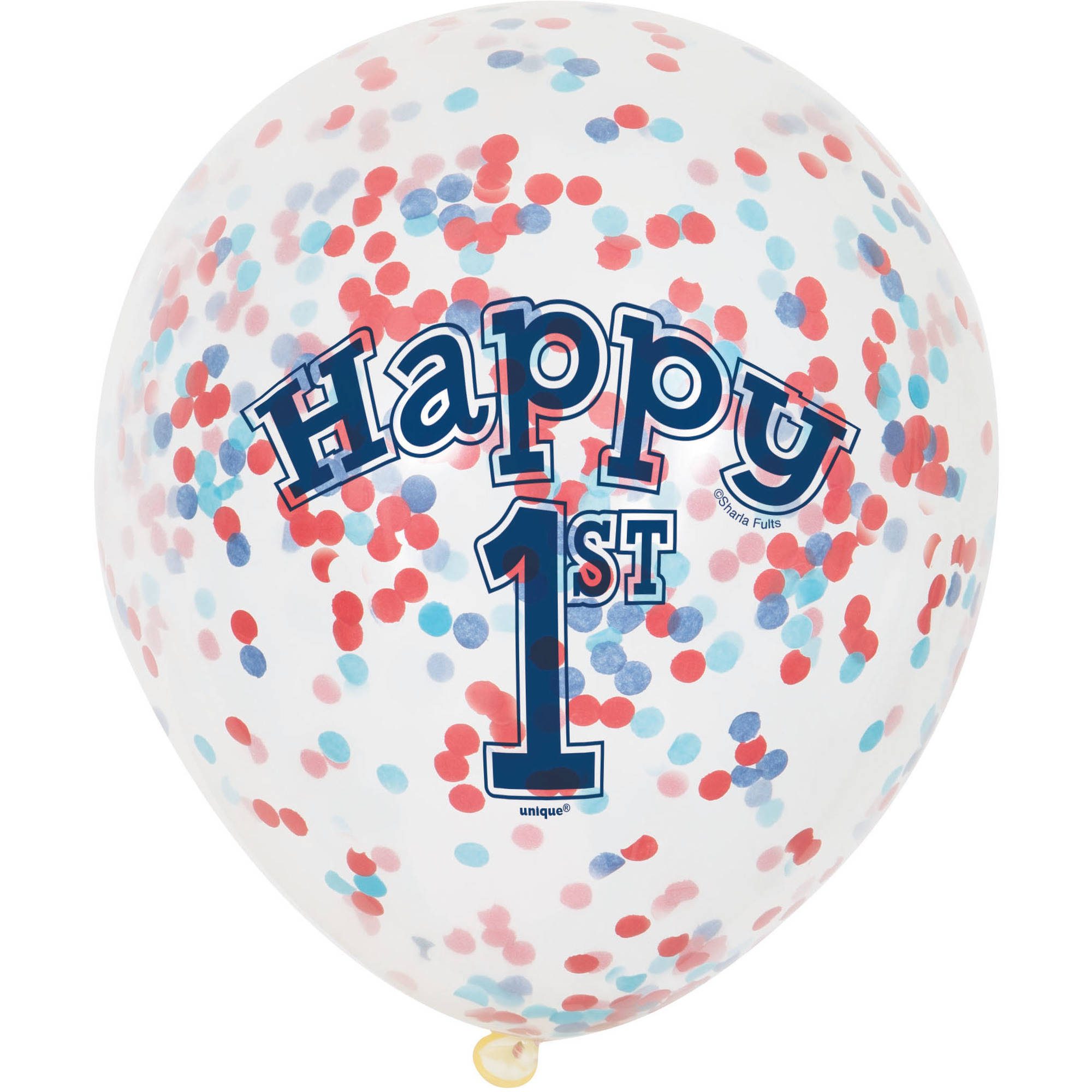 "12"" Nautical Boys First Birthday Confetti Balloons, 6ct"
