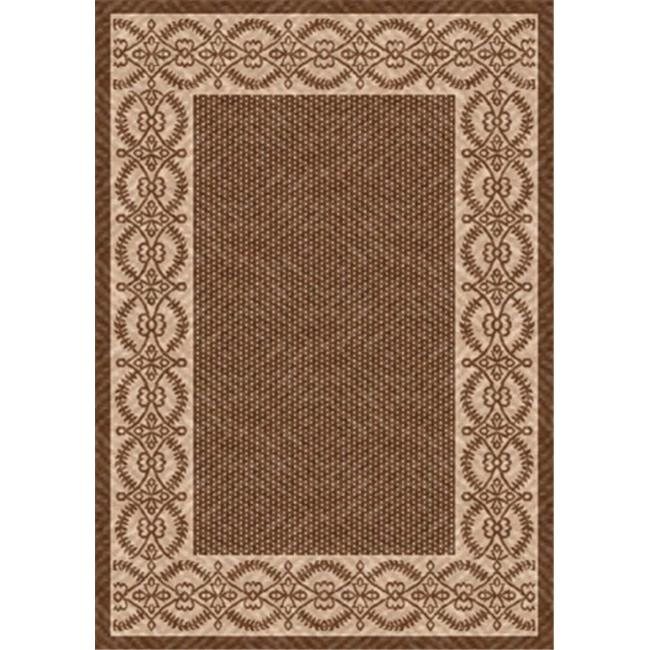 IMS 26072320405081 Barrymore Pattern Heavyweight Outdoor Patio Rug, Brown & Beige - 5 x 8 ft.