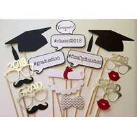 17PCS 2018 Graduation Grad Party Masks Photo Booth Props Mustache On A Stick by