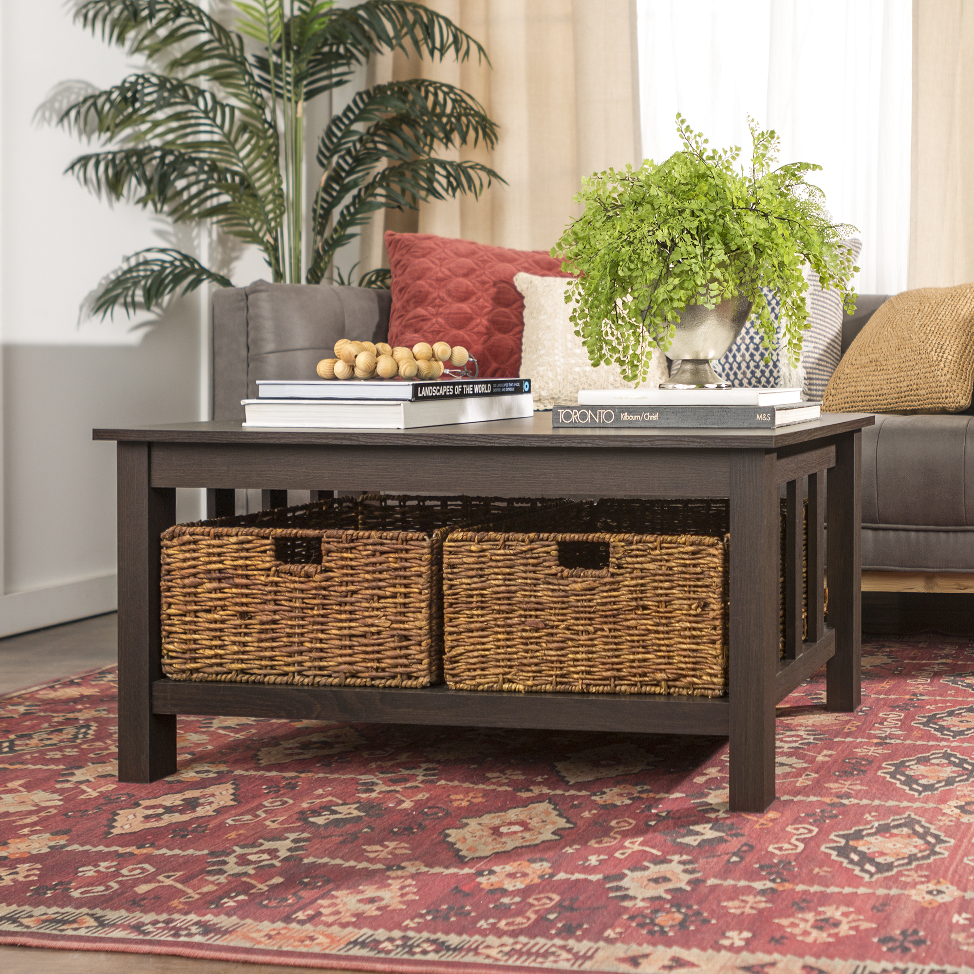 "40"" Traditional Wood Storage Coffee Table with Totes - Espresso"