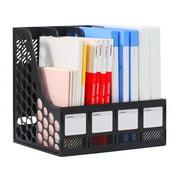 Comix Sturdy Magazine File Plastic Holder Desk Organizer File Folder for Office Organization and Storage with 4 Compartments Storage Organiser Box