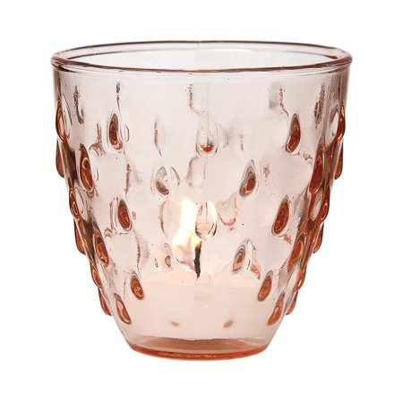 Vintage Glass Candle Holder (3.25-Inch, Small Deborah Design, Vintage Pink) - For Use with Tea Lights - For Home Decor, Parties, and Wedding Decorations