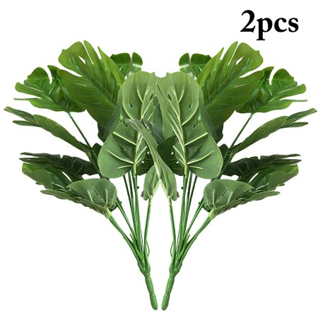 Green Artificial Plants, Outgeek 2 Bunches Artificial Palm Leaf Artificial Plant Fake Leaf for Indoor Home Living Room Outdoor Garden Wedding Party