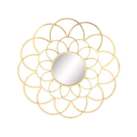 Decmode Modern 37 X 37 Inch Metal Round Lattice Wall Mirror, Gold ()