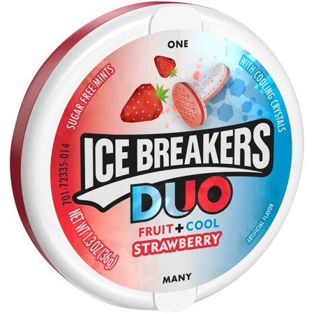 ICE BREAKERS DUO Strawberry Flavored Mints, 1.3 oz