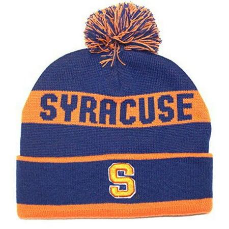 NCAA Officially Licensed Syracuse Orange Team Name Blue Cuffed Pom Beanie Hat Cap Lid