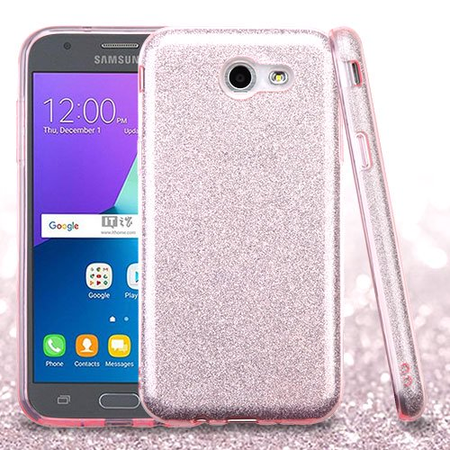 reputable site ed0a1 06ed2 For Samsung Galaxy Express Prime 2/J3 Glitter Hybrid Protector Case Cover