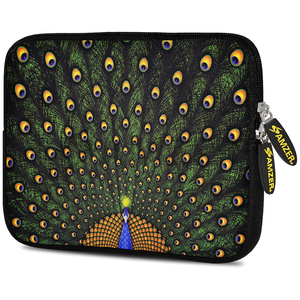 Universal 7.75 Inch Soft Neoprene Sleeve Case Pouch for Tablet, eBook, Kindle - Dancing Peacock