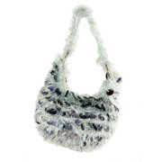 "10.5"" Diva Fashion Purse Small Gray Hobo Handbag with Shiny Sequins and Fringe"