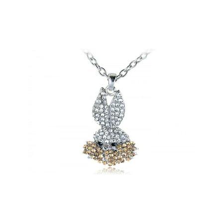 Silver Tone Clear Crystal Rhinestones Bugs Bunny Rabbit Pendant Costume Necklace