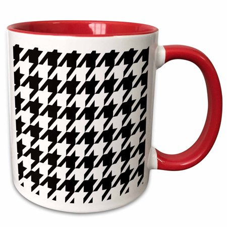 3dRose Black and White Houndstooth - Large - Two Tone Red Mug, 11-ounce