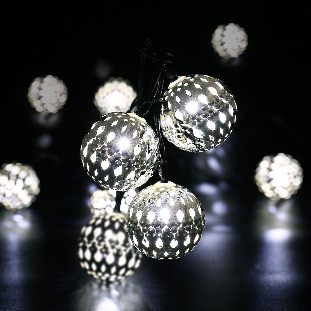 Qedertek Outdoor Garden Lighting Solar String Lights 11ft 10 LED Moroccan Ball Fairy Globe Lantern Lights for Wedding Party Garden (White)