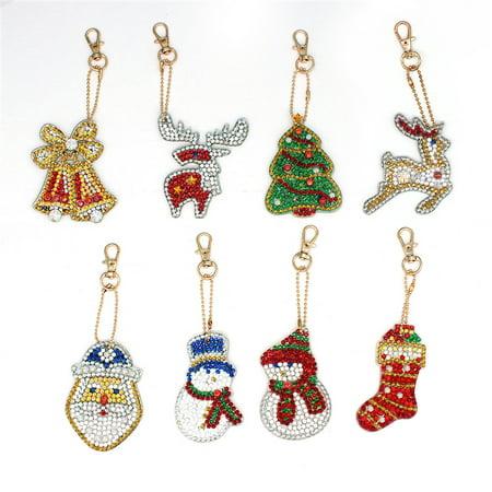 8pcs DIY Drill Diamond Painting Keychain Cross Stitch Key Ring Christmas Xmas Decor Gift - image 2 of 6