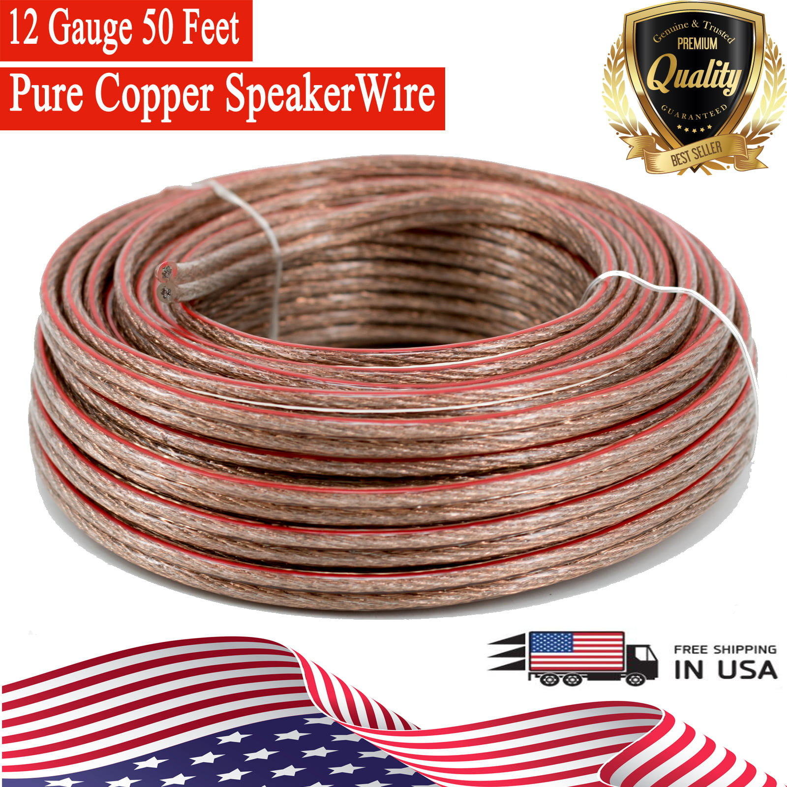 22 GA Gauge 250/' FT Speaker Zip Hook Up Wire Cable Home Boat Car Copper Mix