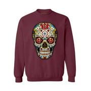 Awkward Styles Sugar Skull Roses Sweatshirt Skull Sweater for Women Day of the Dead Gifts for Men Skull Clothing Dia de los Muertos Sweatshirt Floral Skull Sweater Mexican Holiday Gifts Skull Jumper