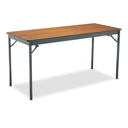 Barricks Special Size Folding Table, Rectangular, 60w x 24d x 30h, Walnut/Black ()