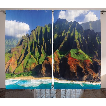 Na Front Panel - Nature  Curtains 2 Panels Set, Aerial View of Na Pali Coast Kauai Hawaii Mountain Cliff Seacoast Scenic Photo, Living Room Bedroom Decor, Green Brown, by Ambesonne