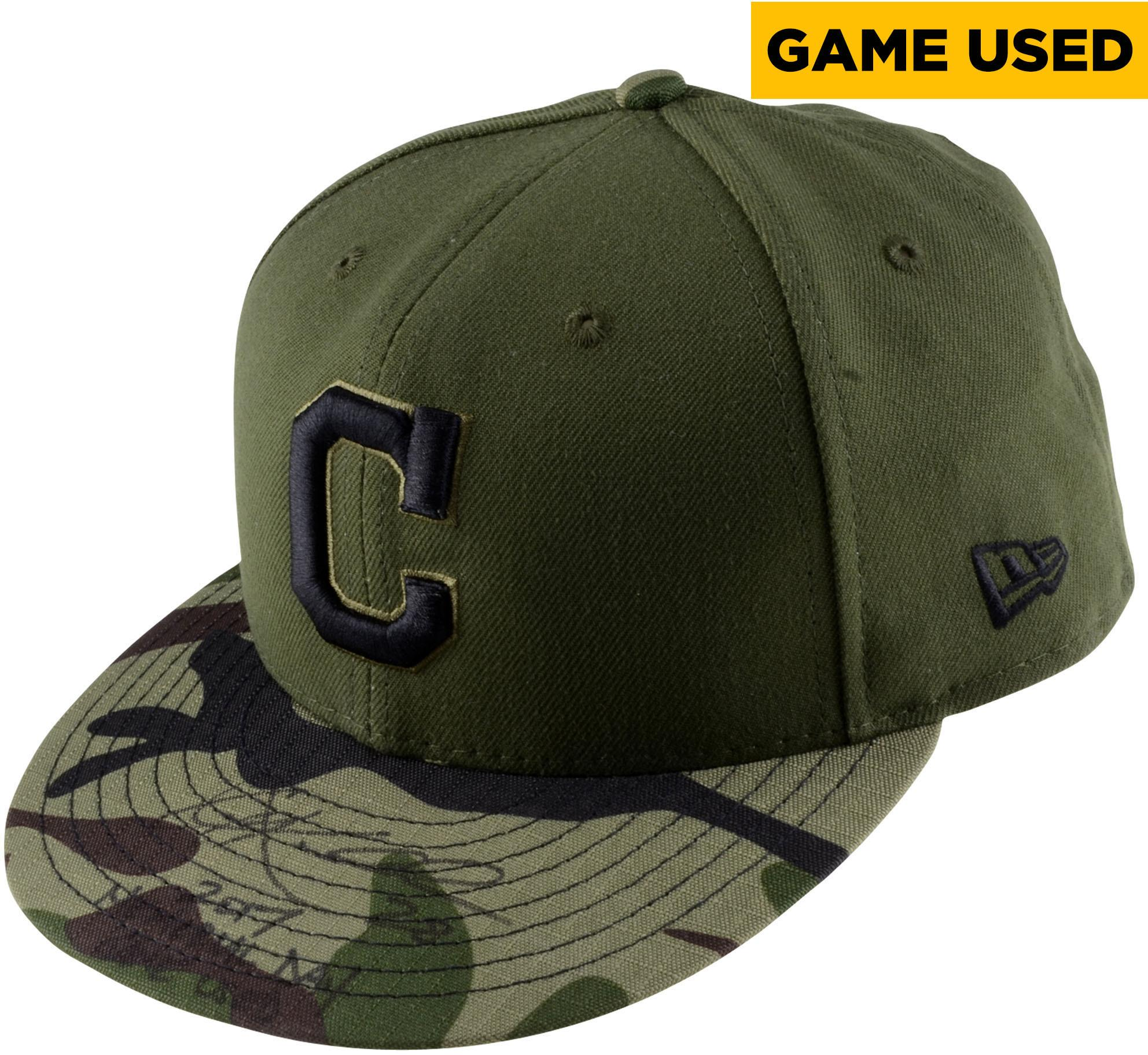 "Corey Kluber Cleveland Indians Autographed Game-Used #28 Camouflage Cap vs. Oakland Athletics on May 29, 2017 with ""2017 Memorial Day Game Used"" Inscription - Fanatics Authentic Certified"