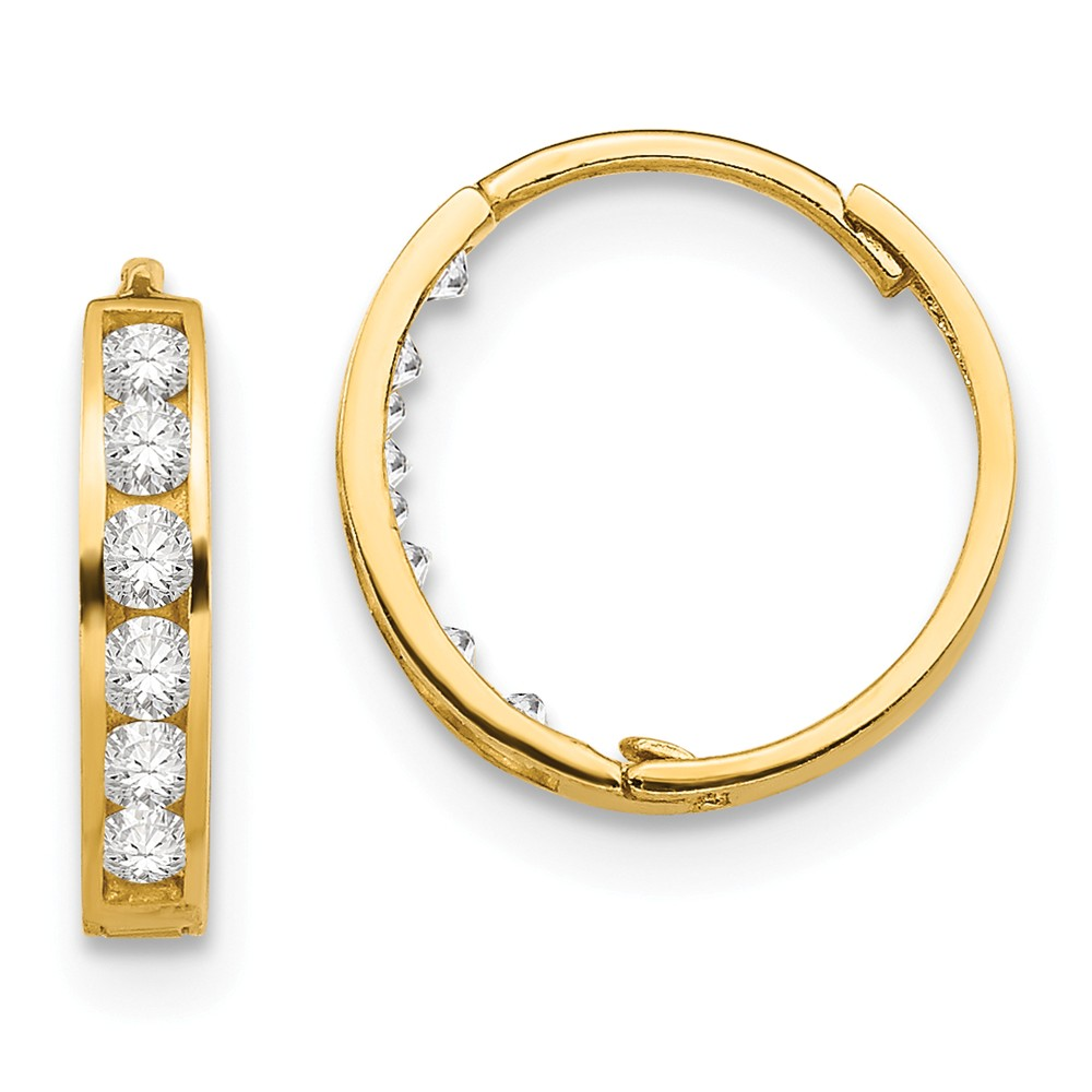 14k Yellow Gold Childs CZ 0.4IN Hinged Hoop Earrings w/ Gift Box (0.4IN x 0.4IN )