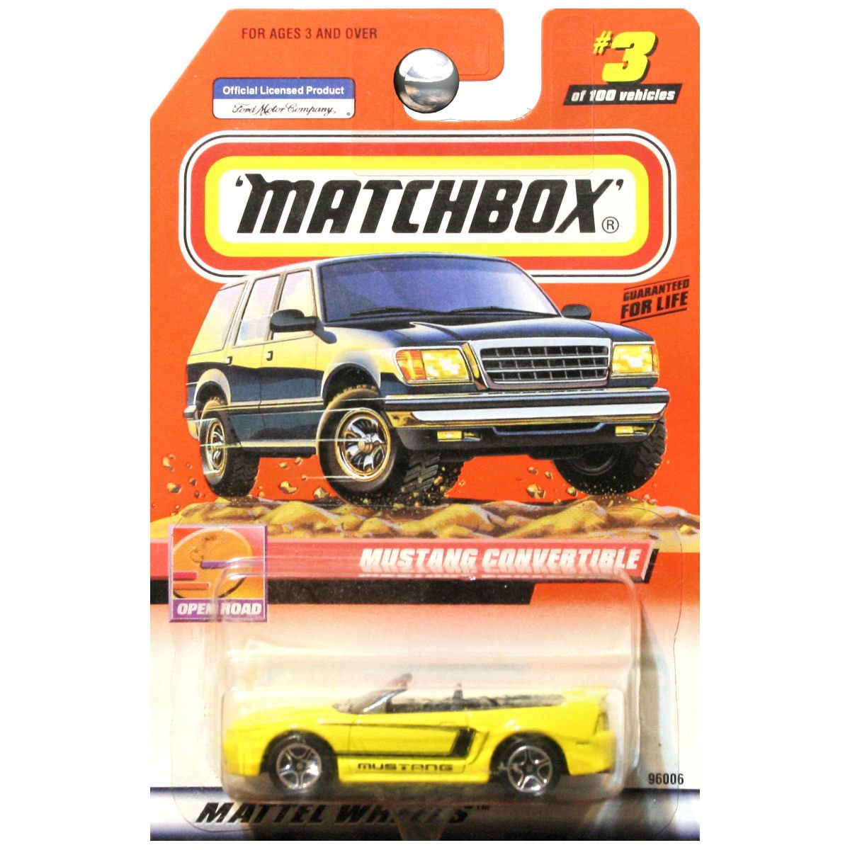 1999 Open Road Ford Mustang GT Convertible Yellow #3, By Matchbox by
