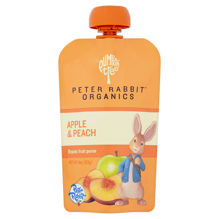 Peter Rabbit Organics Peach and Apple 100% Pure Fruit Snack Baby Food, 4 oz
