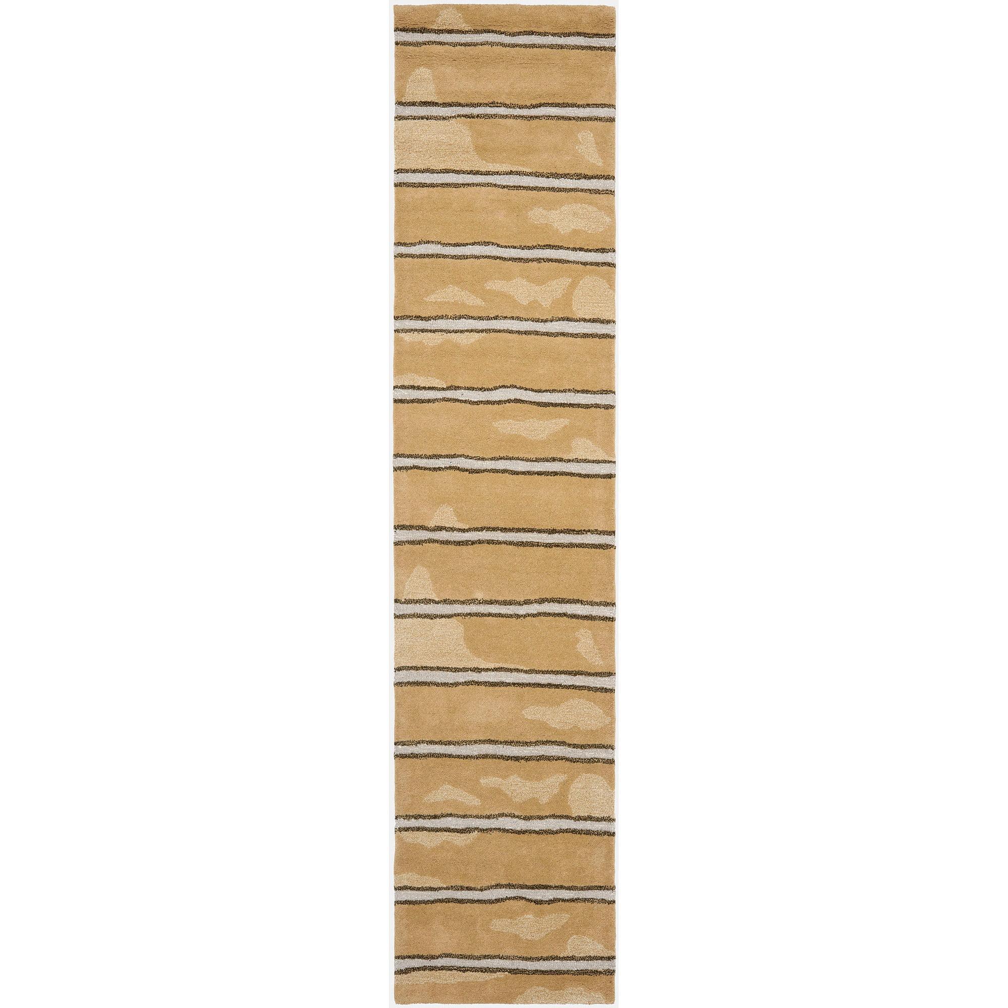 Safavieh Martha Stewart Chalk Stripe Hand-Tufted Runner Rug, Toffee Gold