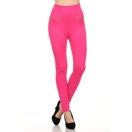 Zipper Leggings Pants - Women Fleece Leggings Mid Waist Strechy Running Sports Pants with Zippers - (Fuchsia)