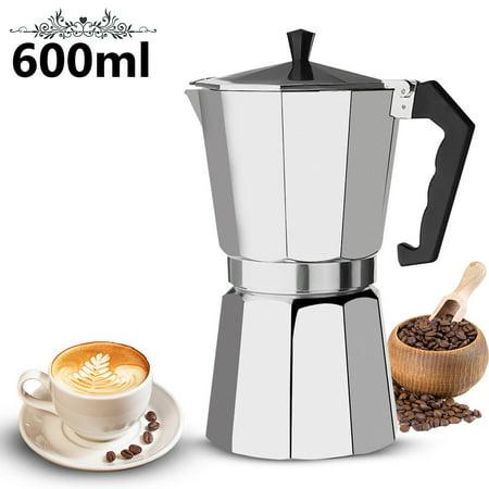 600ML Aluminum 12 Cup Coffee Pot Moka Maker Pot Expresso Latte Stove Top Percolator Retro Coffee Brewing Container for Home, Shops, Outdoor 8.7'X4.7