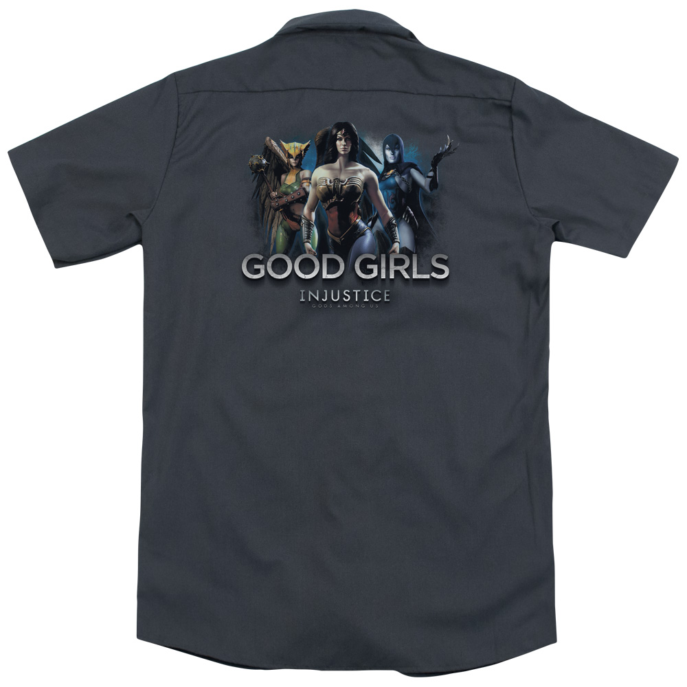 Injustice Gods Among Us Good Girls (Back Print) Mens Work Shirt
