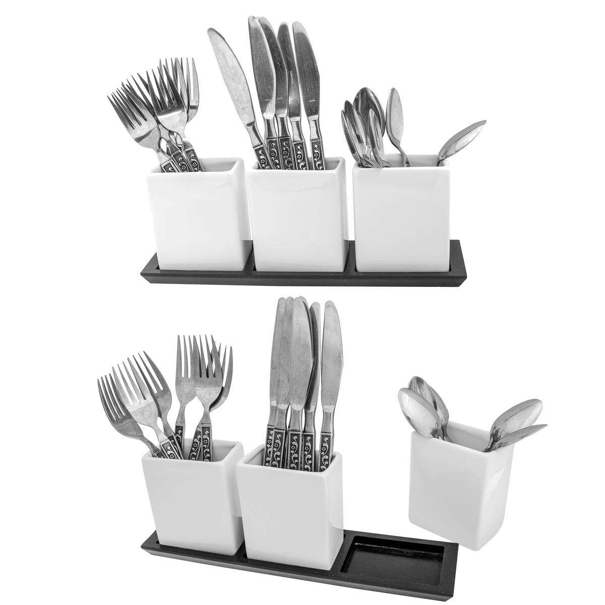 Cobble Creek (8 piece) Ceramic Utensil Caddy Set for Home Party Pantry Organization and Storage