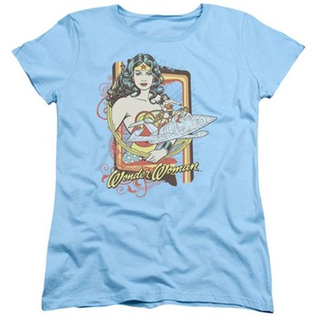 Trevco Dc-Invisible Jet - Short Sleeve Womens Tee - Light Blue, Extra Large