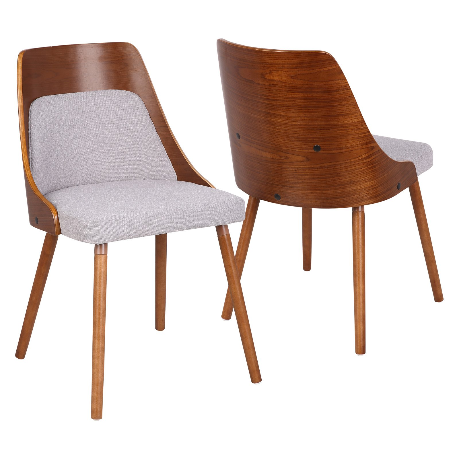 Anabelle Mid-Century Modern Dining Chair in Walnut and Cream Fabric by Lumisource by LumiSource