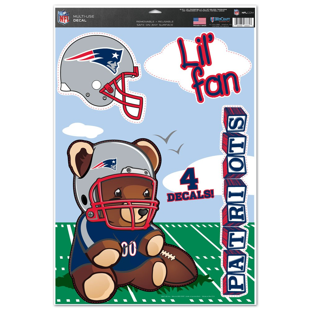 New England Patriots Official NFL 11 inch  x 17 inch  MultiUse Car Decal by WinCraft