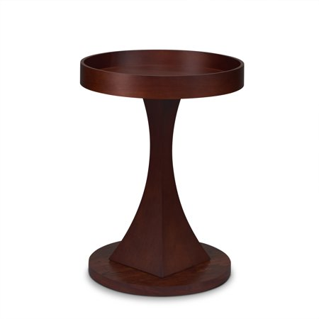ACME Dinnen Round Tray Top Side Table in Walnut Finish (Walnut Finish Pedestal)