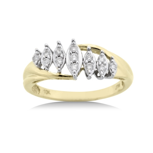 1/5 Ct. t.w. Diamond Marquise Ring in 10kt Yellow Gold