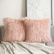 "Phantoscope Merino Style Faux Fur Series Decorative Throw Pillow Cover, 18"" x 18"", Orange, 2 Pack"