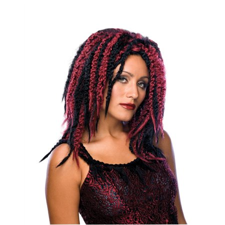 Adult Womens Wavy Curly Dreaded Vampire Gothic Streaked Black Burgundy Wig