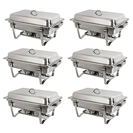 6 Pack Chafing Dish Buffet Set 8 Quart Rectangle Stainless Steel Catering Food Warmer KitsHave Fun With Friends