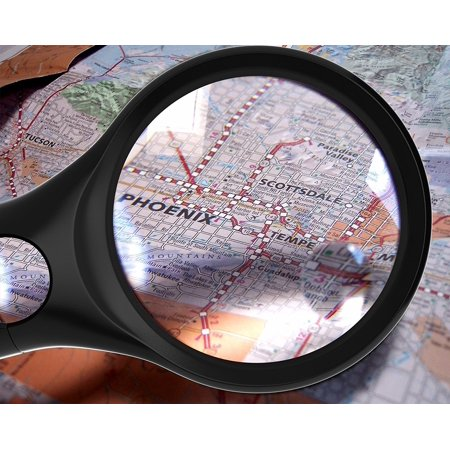 Black Magnifying Glass w/ 3 LED Lights [3x 10x 45x] Handheld Magnifier for Reading Maps - Best For Jeweler Watch