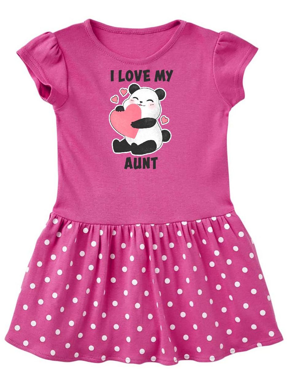 I Love My Aunt with Panda Illustration Infant Dress