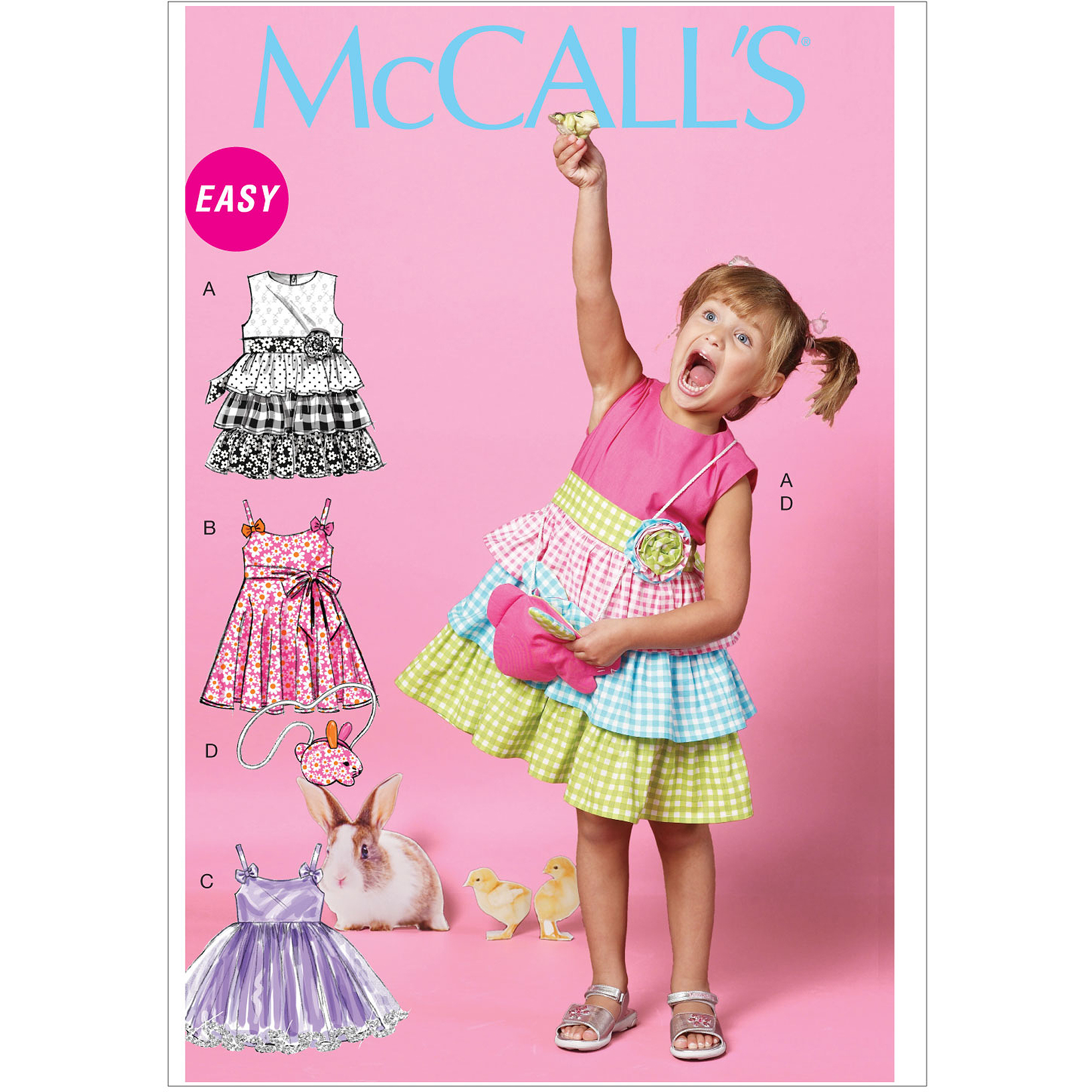 McCall's Pattern Children's and Girls' Dresses, Belt and Bag, CL (6, 7, 8)