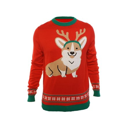 Ugly Christmas Party Sweater Men's Corgi Dog W/ Antlers Sweatshirt ()