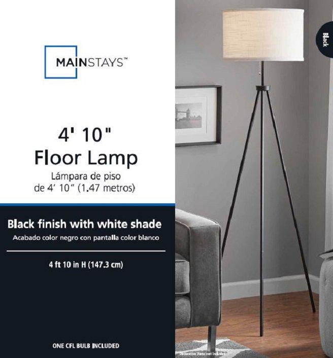 MAINSTAYS BLACK TRIPOD FLOOR LAMP