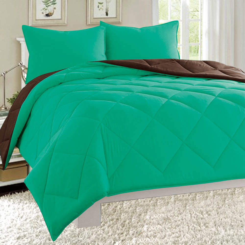 Dayton Queen Size 3-Piece Reversible Comforter Set Soft Brushed Microfiber Quilted Bed Cover Turquoise & Brown