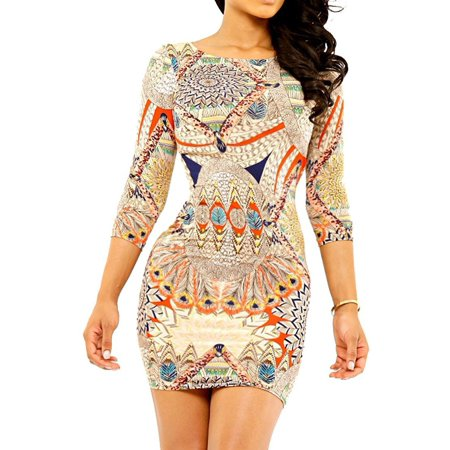 Sexy Fashion Retro Vintage Totem Pattern 3/4 Sleeve Bright Colorful Party Dress