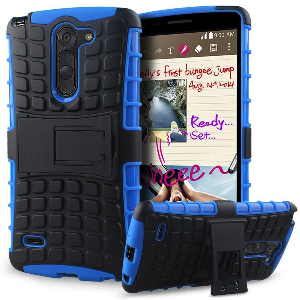 LG G3 Stylus; D690 TPU Slim Rugged Hybrid Stand Case Cover Black